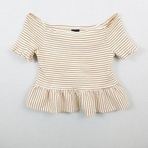Striped Short Ruffle Sleeve Off the Shoulder  Top